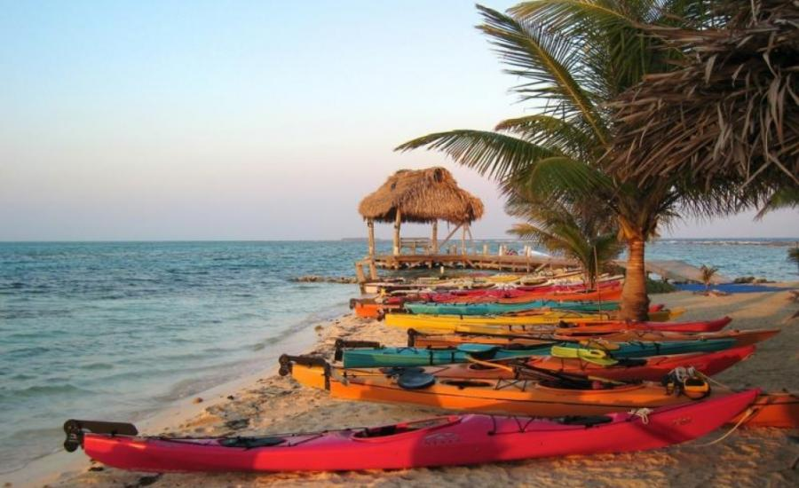 Kayaks on the beach in Belize